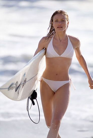 cameron diaz surfing at the beach in the ocean skinny actresses white bikini surf board