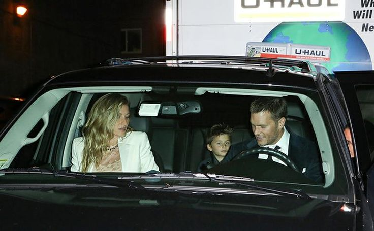 TOM , Gisele and kids in car on the way to Tom's sister's wedding   10/4/15