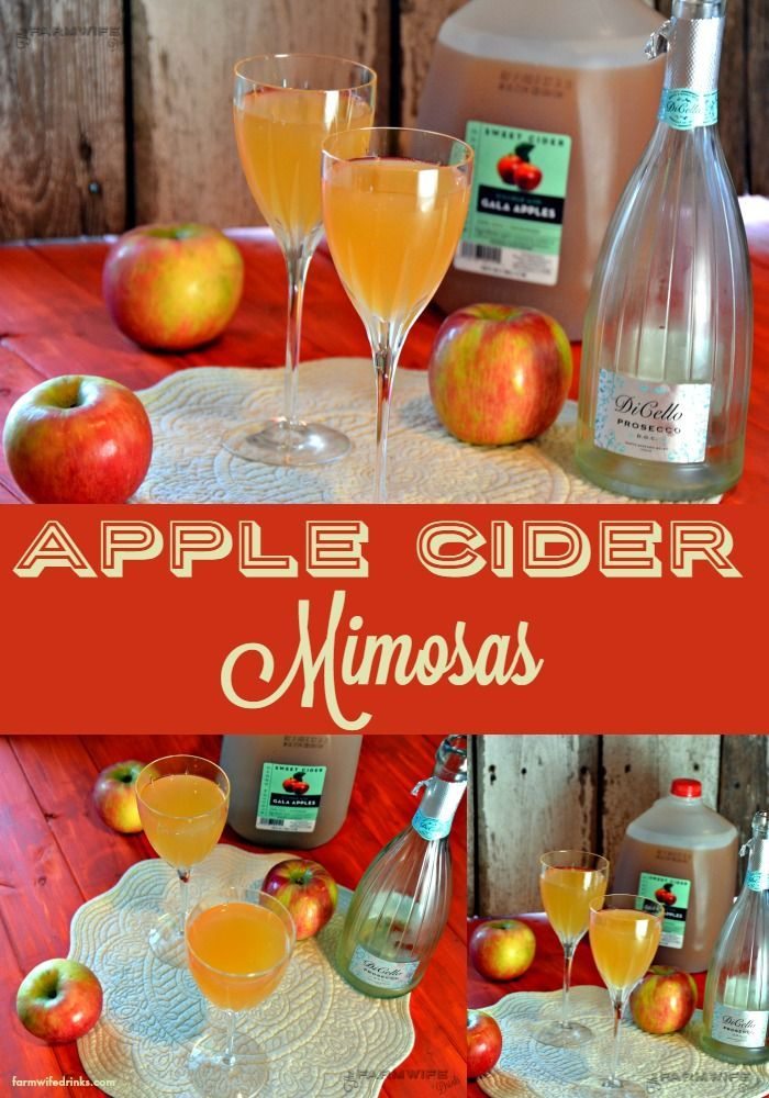 These apple cider mimosas are an easy to make fall version of the favorite brunch cocktail.