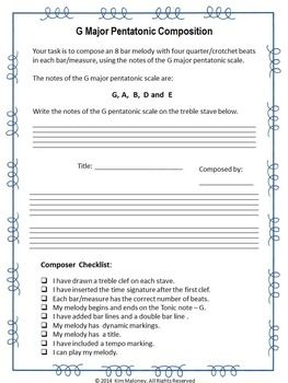 FREE Download!      G Major Pentatonic Composition Task.           This composition task is suitable for grades 5-8, depending on the students' background knowledge.     #musiceducation     #musedchat