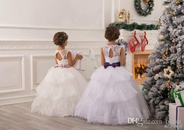 2015 Summer Flower Girl Dresses For Weddings Ball Gown Princess Floor Length White Lace Tulle Appliques Toddler Party Dresses Pageant Gowns