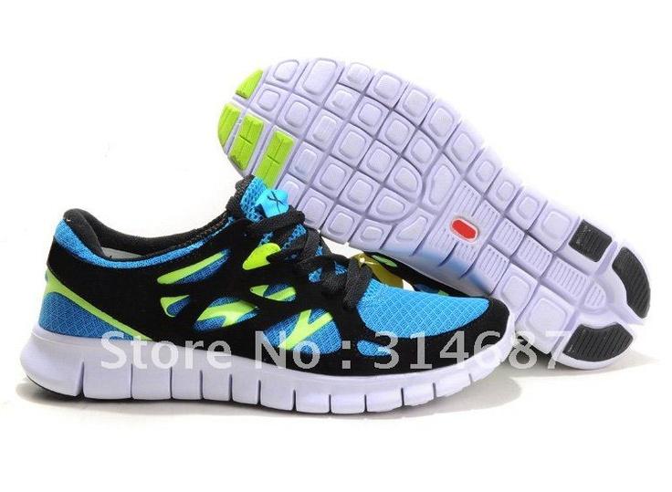 Womens Blue Glow White Black Volt Nike Free Runs 2 Shoes