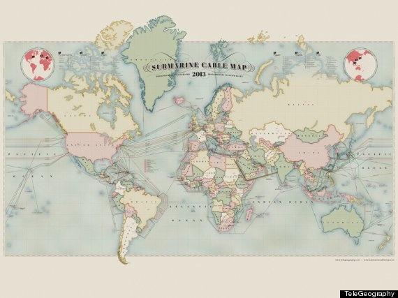 Internet: La carte des câbles  sous-marins qui permettent les télécommunications mondiales