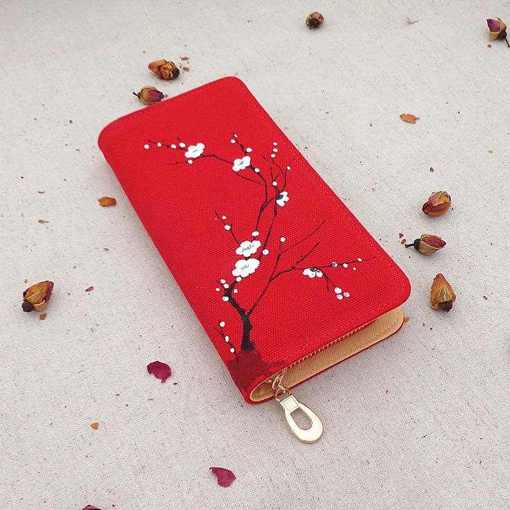 Factory Direct Sale Chinese Wind Hand-Painted Women Wallets Plum Ethnic Tourism Scenic Spot Selling Retro Elegant Handmade Purse #Affiliate