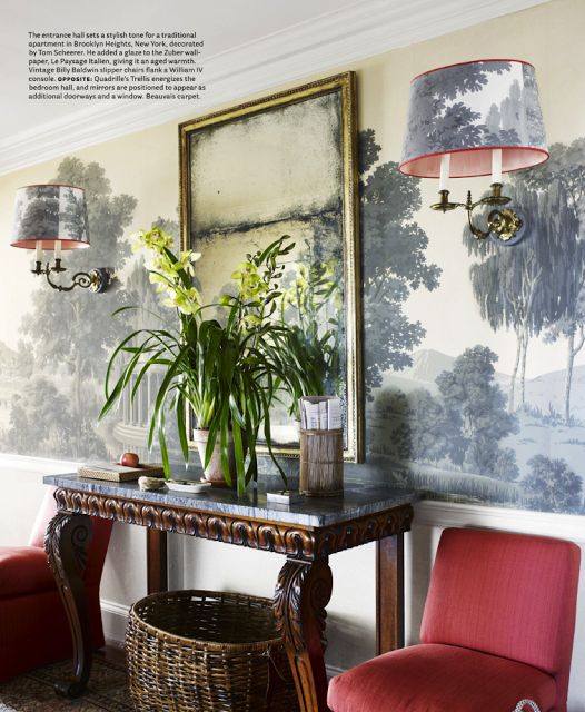 "Tom Scheerer glazed the ""Le Paysage Italien"" Zuber wallpaper to give it an aged warmth. Vintage Billy Baldwin slipper chairs, William IV console."