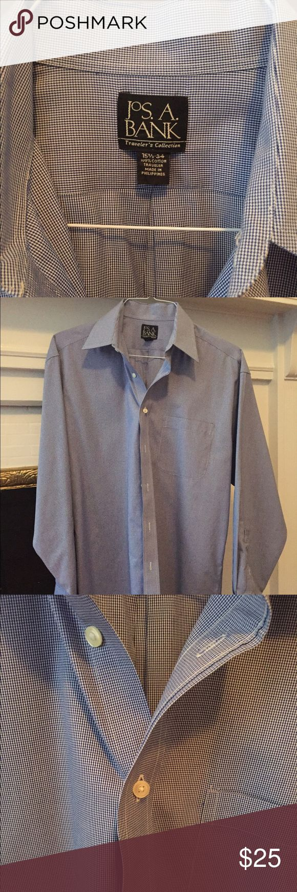 Jos A Bank size 15 1/2 neck 34 length arm. Joseph A Banks 15 1/2 neck and 34 arm length dress shirt. Worn once in perfect condition! Jos. A Bank Shirts Dress Shirts