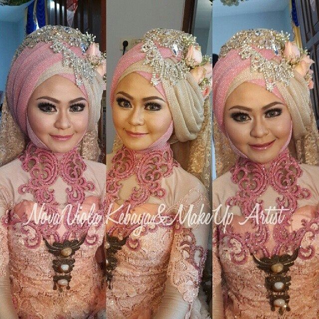 This hijab style can cover her chubby cheek. Also its pink.  :-D my fav.  #pink #kebaya #indonesia #hijab #bride  @ novaviola