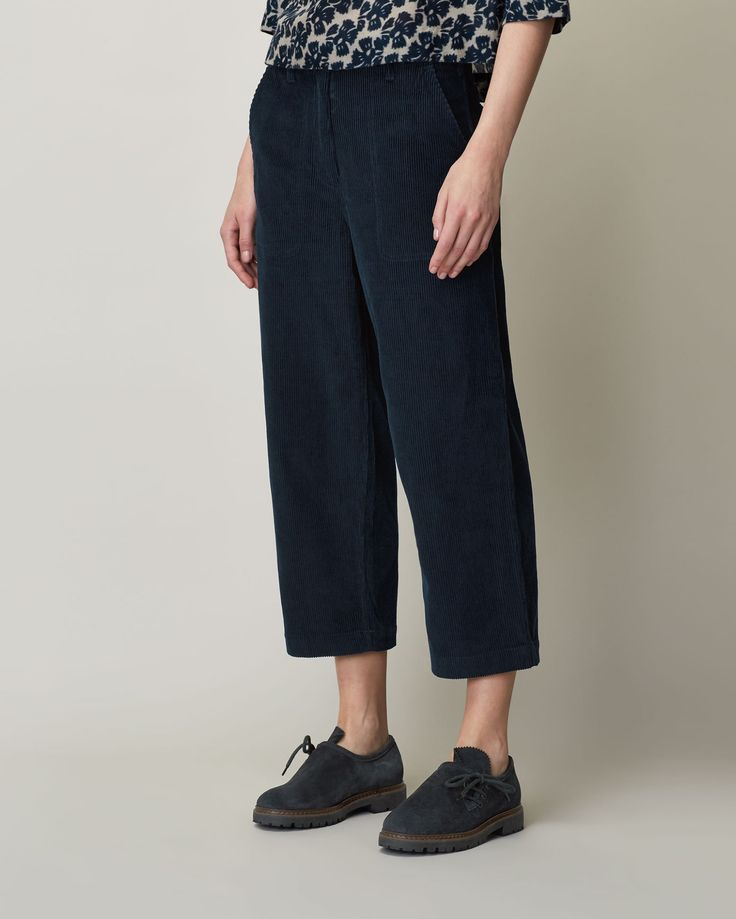 Neat, cropped, straight leg trouser in a soft and supple 8 wale corduroy. Sits…
