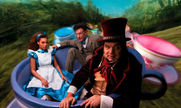 Beyonce, Oliver Platt and Lyle Lovett as Alice in Wonderland, the Mad Hatter, and the March Hare