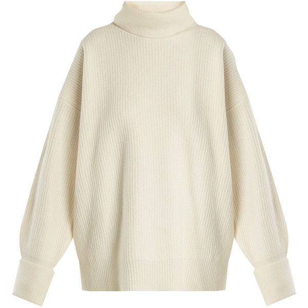 Maison Margiela Roll-neck suede-patch wool-blend sweater ($725) ❤ liked on Polyvore featuring tops, sweaters, ivory, beige top, beige sweater, rollneck sweaters, roll neck top and roll-neck sweaters