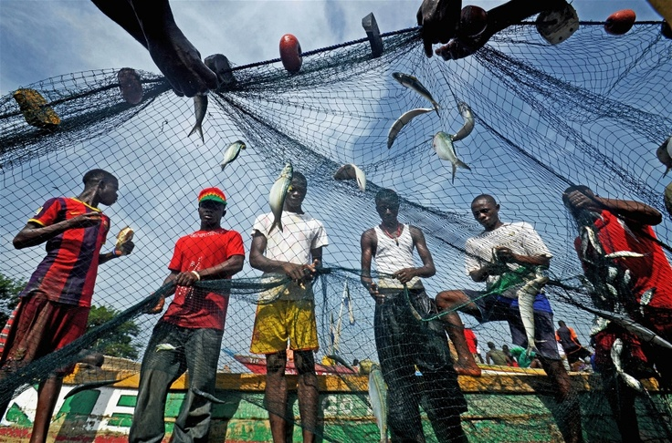 Fishermen with their catch in the village of Goderich on the outskirts of Freetown (Dec 2012)