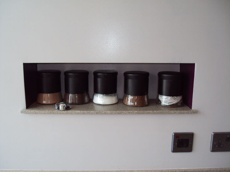 Cheeky little idea! Corian recessed shelf.