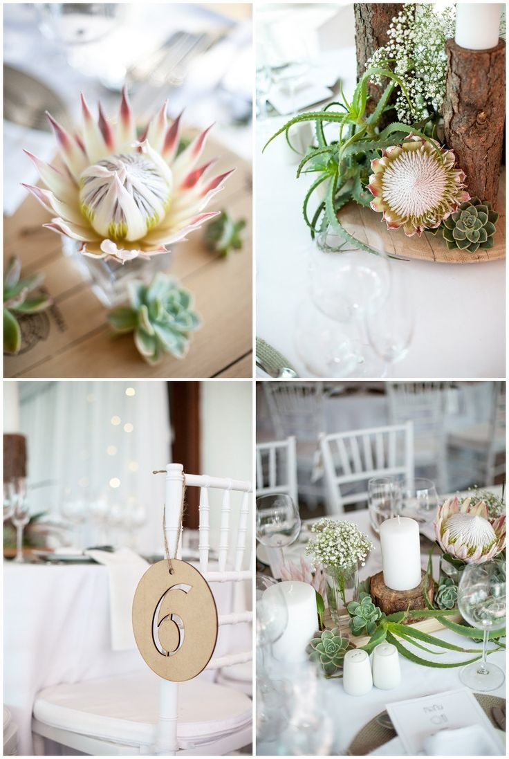beautiful classic wedding decor with proteas - www.vanillaphotography.co.za