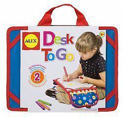 "Alextoys 507 – DESK TO GO Είσαι εκτός σπιτιού και χρειάζεσαι μία σταθερή επιφάνεια για ζωγραφική και χρωματισμό; Το ""Μεταφερόμενο Γραφείο"" είναι η ιδανική λύση! Έχει μία σταθερή επιφάνεια για γράψιμο, ζωγραφική και άλλα. Οι πλαϊνές τσέπες κρατούν τα διάφορα υλικά που θα χρειαστείς και μετά διπλώνουν και δένουν κάνοντας τη μεταφορά εύκολη. Η κάτω …"