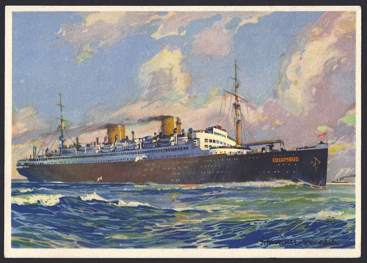 """The """"Columbus"""" steamship is shown on the front of postcard. (on back of postcard) Germany Scott #395 and #405 President Paul von Hindenburg tied to postcard by 18 May 1933 Köln Flughafen (Cologne Airport) cancellation to New York City, New York:  Red Mit Lufftpost zum Dampfer """"Columbus"""" Befordert (transported by airmail to the steamship """"Columbus"""") handstamp."""