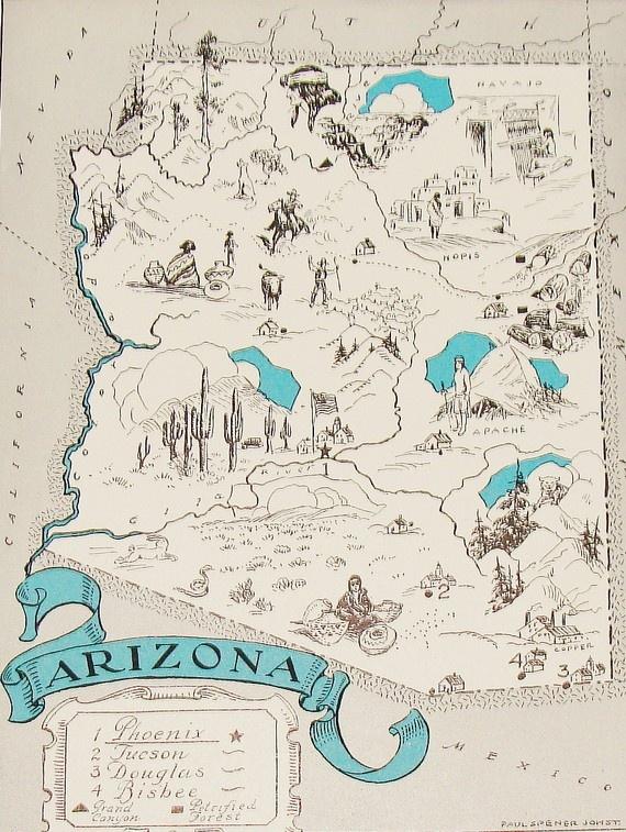 Vintage Arizona Map   AOriginal Vintage Picture Map to Frame