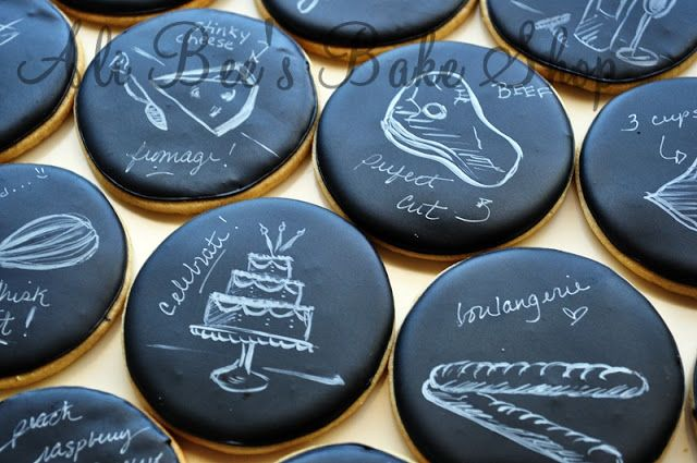 how to: chalkboard cookies ::: Ali Bee's Bake Shop: Tutorial: Hand Painting - The Basics
