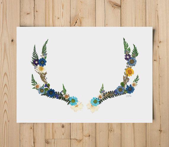pressed flower antlers print by fromroses on etsy
