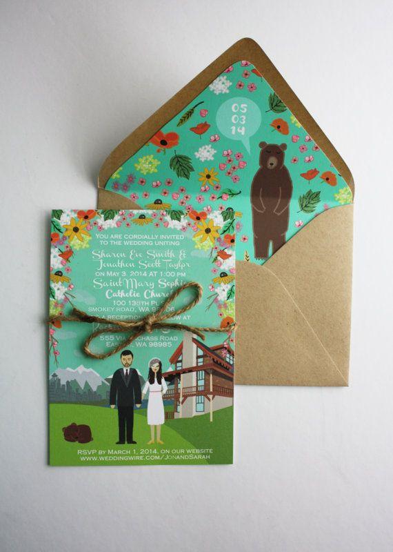 Custom Illustrated Wedding Invitations by chicksnhens on Etsy, $200.00