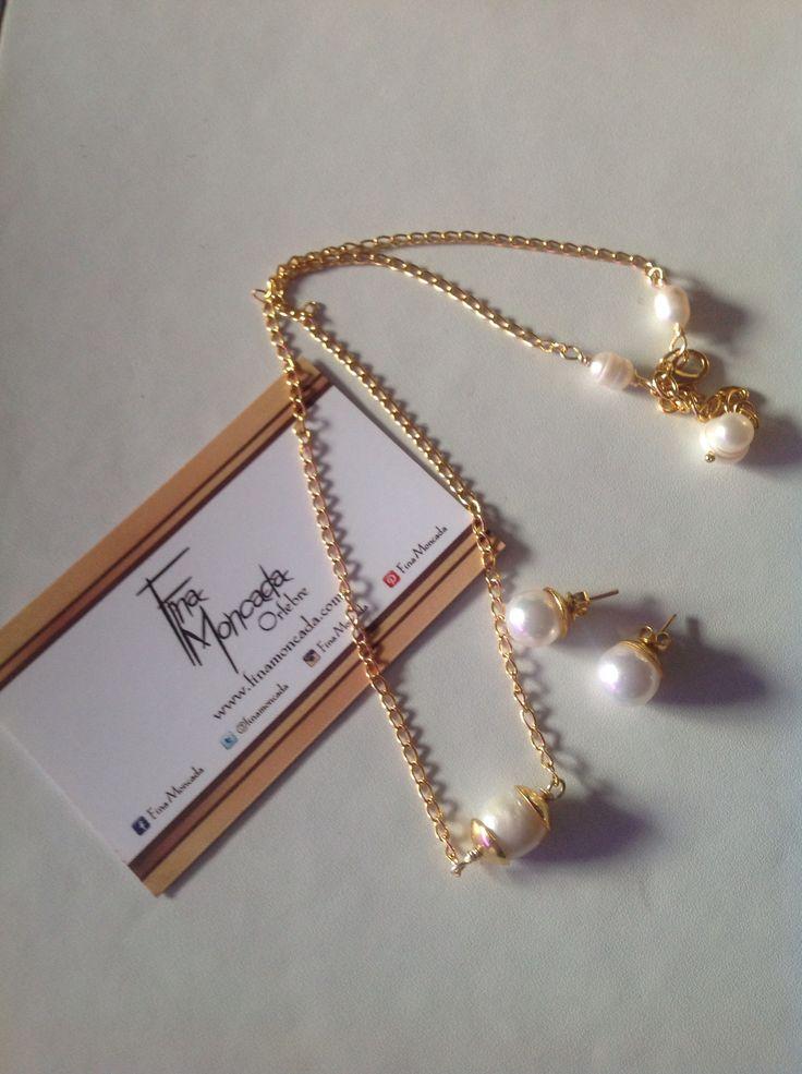 Collar y zarcillos en cobre con perlas y baño de oro