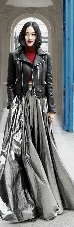 Fall street fashion....Rock glam all decked out for the night.  V