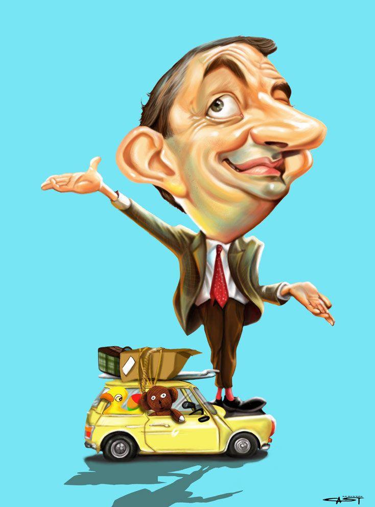 Caricatura de Rowan Atkinson - Mr. Bean.