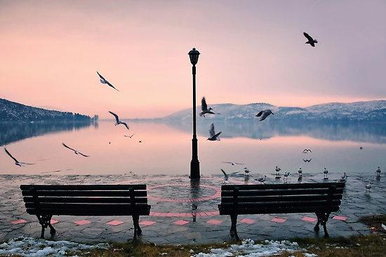 #Winter morning at #Kastoria lake, #Greece