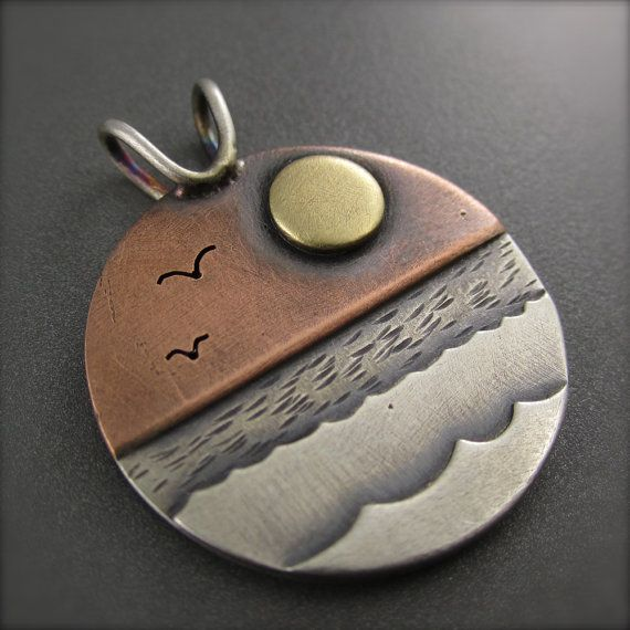 New Day Sunrise Mixed Metal Pendant by BethMillnerJewelry on Etsy, $360.00