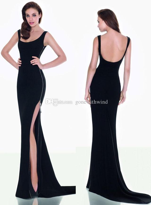 Long Side Split Zipper Prom Dresses 2016 Tarik Ediz Dresses For Evening Backless Mermaid Prom Gowns Black Party Dresses Prom Dress Uk Prom Dresses With Sleeves From Gonewithwind, $95.48| Dhgate.Com