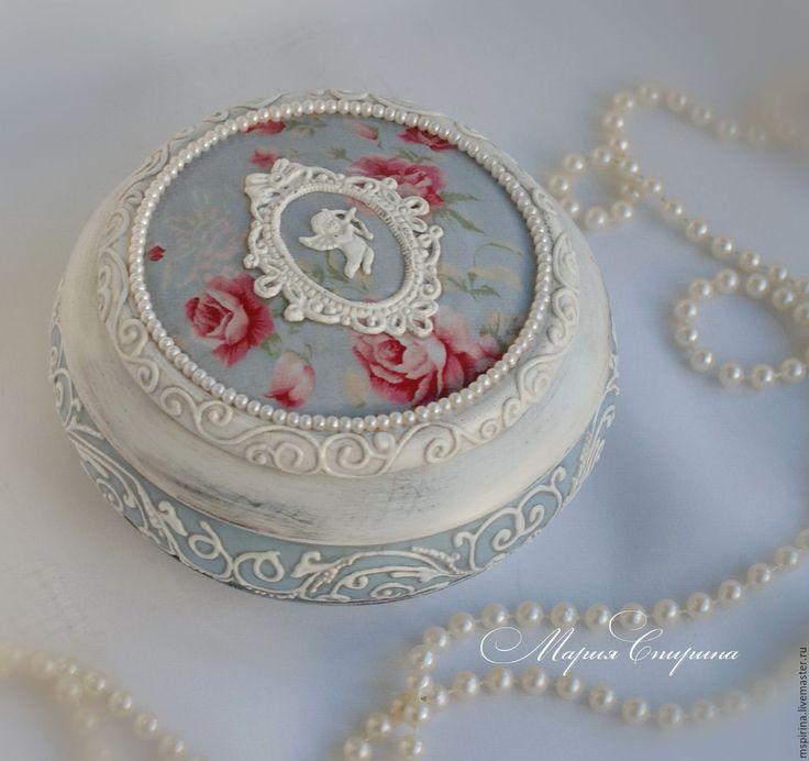 """Купить Шкатулка в стиле шебби-шик """"Amour"""" - голубой, для туалетного столика, подарок женщине, для спальни"""