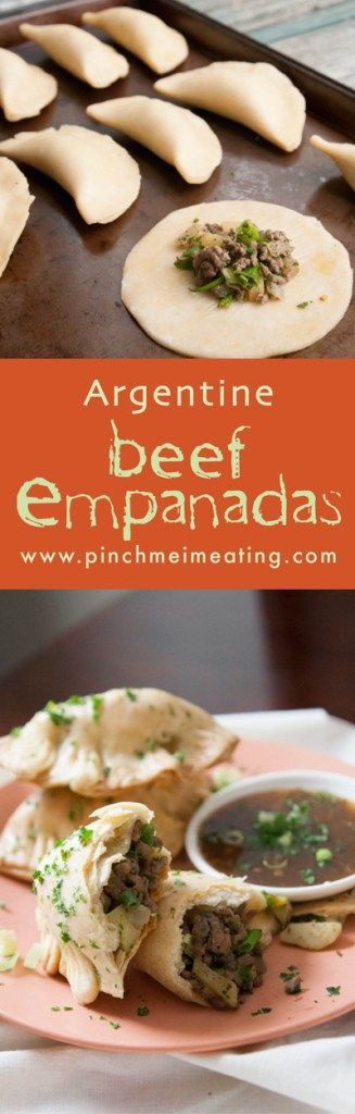 Get a taste of South America with these Argentine beef, potato, and onion empanadas. Serve them with chimichurri! | www.pinchmeimeating.com