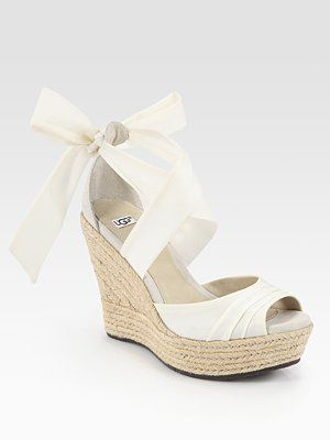 UGG Australia - Lucianna Tie-Up Silk and Suede Espadrille Wedge Sandals - Saks.com (BEAUTIFUL)