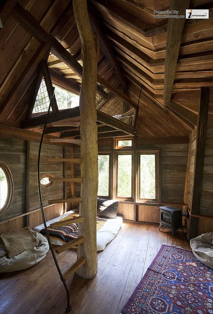 architecture minimalist wood mezzanine with unique spiral staircase on log column in fantastic interior tree house