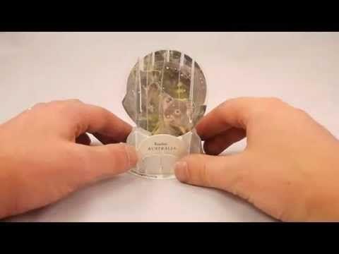 New Souvenir Foldable 3D Snow domes Koalas Australia Christmas card