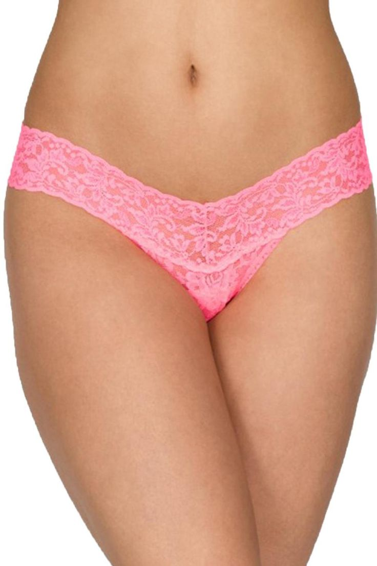 """Low Rise thong in Sizzle Pink Hanky Panky is the most confortable thong in the world! • One-size thong in Hanky Panky´s signature stretch lace.Fits sizes 2-12 best (hips measuring 35""""-42"""") Low Rise fits lower on the hips.V-front, V-back waistband   Low Rise Thong  by Hanky Panky. Clothing - Lingerie & Sleepwear - Panties Canada"""