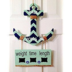 Hospital Door Hanger Sign Announcement for baby boy or girl personalized child room, nursery, birthing room Anchor, Nautical
