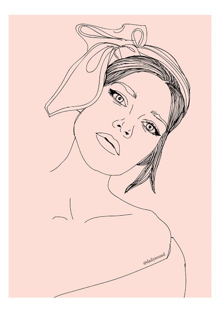 Fashion illustration, girl portrait, headscarf, pink, girly pictures