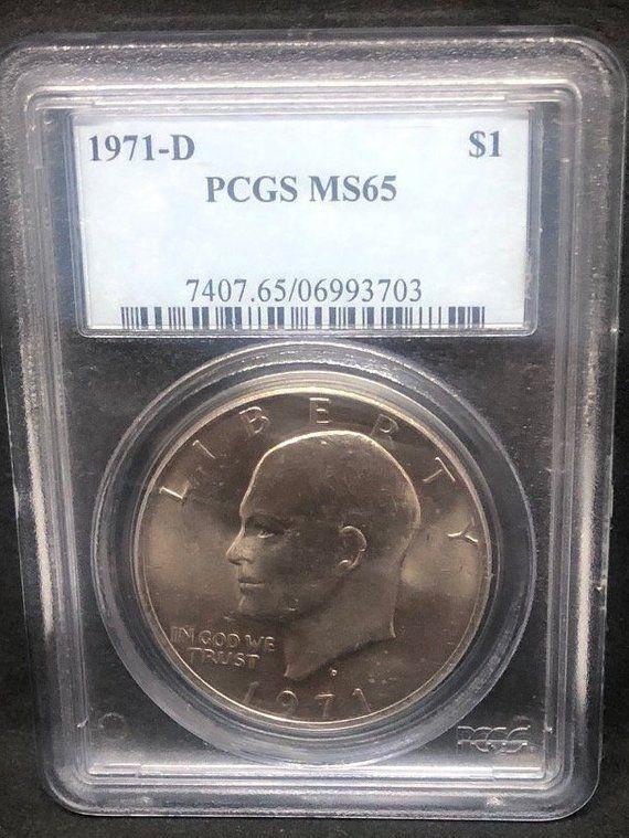 1971 D Eisenhower Dollar Coin Pgcs Ms65 Us Dollar Coin Ike Etsy American Eagle Gold Coin American Silver Eagle Gold Bullion