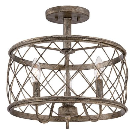 Showcasing an openwork steel frame with a weathered finish, this vintage-inspired semi-flush mount adds a rustic touch above your dining table or in the foye...                                                                                                                                                                                 More