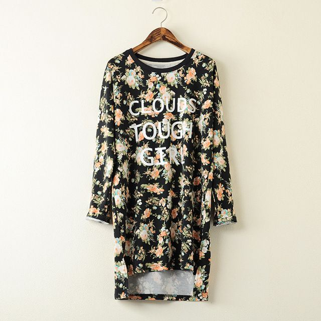 2015 New Style Autumn Japanese Irregular Loose Long Tops Women Long-sleeved T-shirt US $165.00 /lot (5 pieces/lot) Specifics Item Type Tops Tops Type Tees Gender Women Decoration None Clothing Length Long Sleeve Style Batwing Sleeve Pattern Type Floral Brand Name Brand new Style Fashion Fabric Type Denim Material Cotton,Wool,Lycra,Nylon,Spandex,Acetate Collar O-Neck Color Style Natural Color Sleeve Length Full Model Number SN2277  Click to Buy :http://goo.gl/t9O3