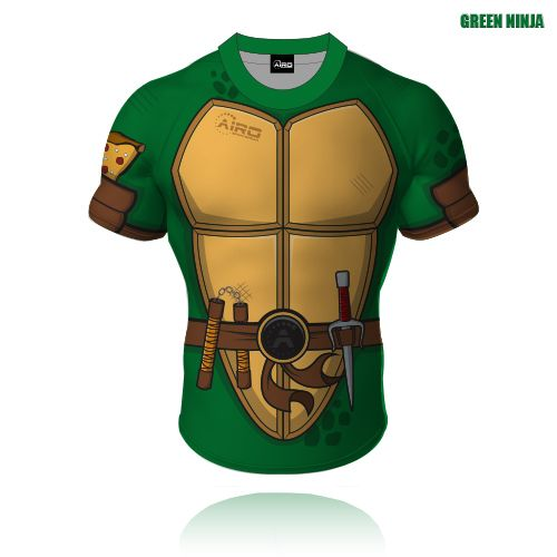 """Airosportswear- Green Ninja Rugby ShirtSizes :4XS: 26"""" Chest3XS: 28"""" Chest2XS: 30"""" ChestXS: 32"""" ChestS-: 34"""" ChestS: 36"""" ChestS : 38"""" ChestM: 40"""" ChestL: 42"""" ChestXL: 44"""" Chest2XL: 46"""" Chest3XL: 48"""" Chest4XL: 50"""" Chest5XL: 52"""" Chest6XL: 54"""" Chest7XL: 56"""" Chest80�0Polyester 20�0Spandex  280gsm Fitted Shirt*Due to manufacturing the items take 5-6 weeks from t..."""