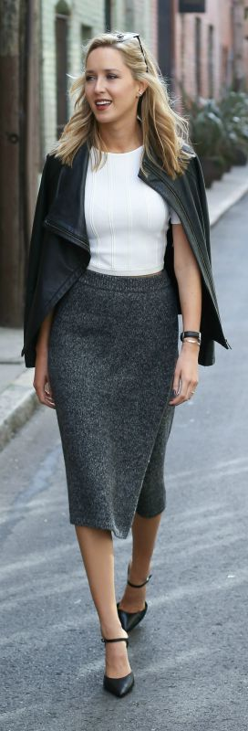 knit pencil skirt, white crop top, leather jacket, black sling back pointy toe pumps, watch + sunglasses {club monaco, alice + olivia, whbm, daniel wellington}