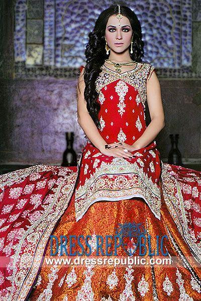 Red Marisa - DR9957, Red Bridal Lehenga, Pakistani Wedding Dress in Red Color, Designer Shadi Dress by www.dressrepublic.com