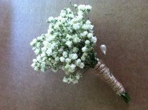 Dried Babys Breath and twine  boutonniere - grooms men - wedding - rustic wedding - woodland wedding - button hole - lapel pin via Etsy