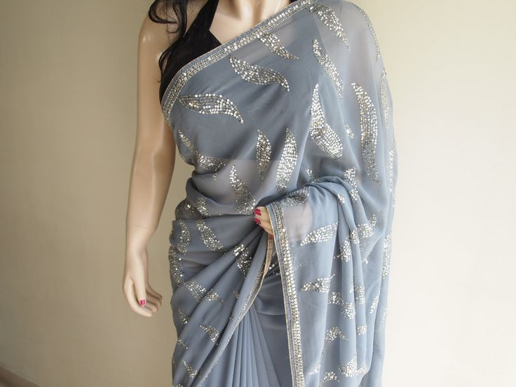 Gray Georgette Saree With Sequins Work