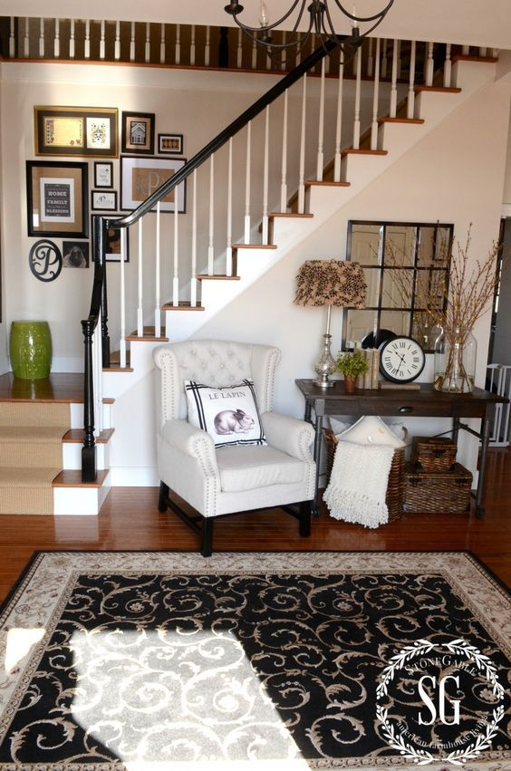ADDING AN UPHOLSTERED CHAIR TO THE FOYER- breaking the decorating rules and opting for comfort-stonegableblog.com: