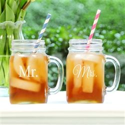 Mr. & Mrs. Old Fashioned Drinking Jar Set :: Perfect for the Bride and Groom to toast with on their wedding day!