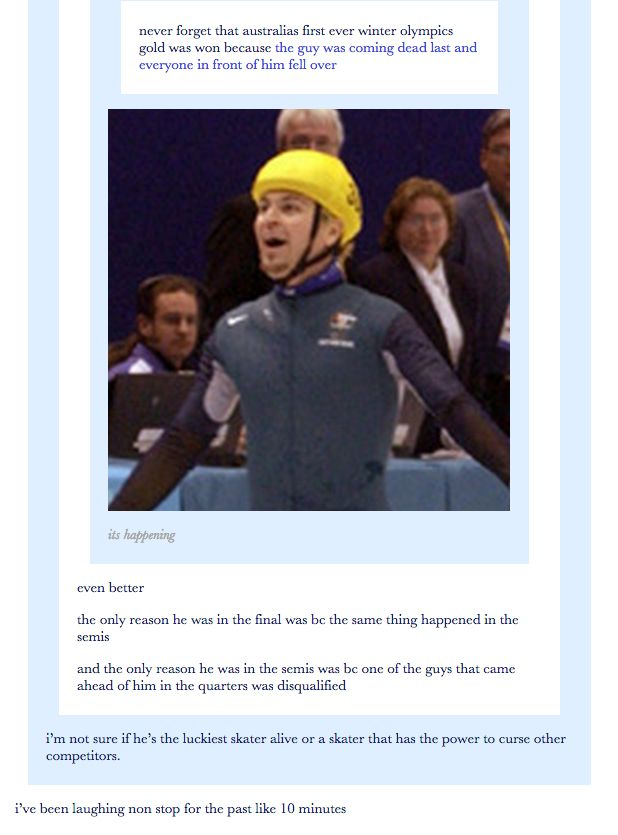 On the Winter Olympics. | 29 Times Australians Were The Realest On Tumblr