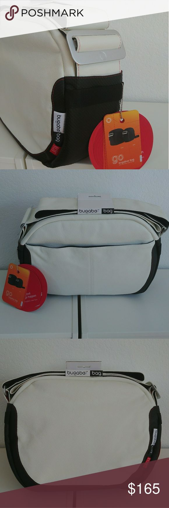 Bugaboo White Leather Diaper Bag Complete NWT Bugaboo white leather with red trim bag. Adjustable strap. Super stylish diaper bag and modern carry all for adults. All tags attached.  Complete with all accessories:  - Dust bag - Insulated food and bottle bags - Changing pad Bugaboo Bags
