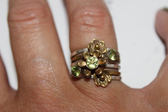 Peridot Ring Stack Sterling Silver and Copper by KimberlysTreasure, $129.00